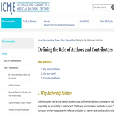 Ethical Issues in Authorship