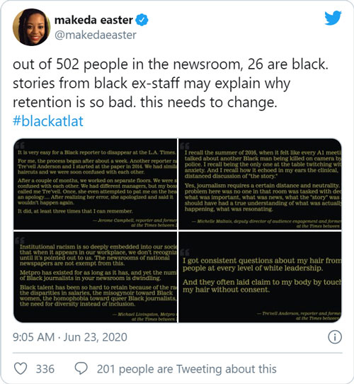 "Screenshot of a tweet from makeda easter, @makekaeaster, posted at 9:05 AM June 23, 2020. The text of the tweet is ""out of 502 people in the newsroom, 26 are black. Stories from black ex-staff may explain why retention is so bad. This needs to change. #blackatlat"" and includes 4 images with other text."