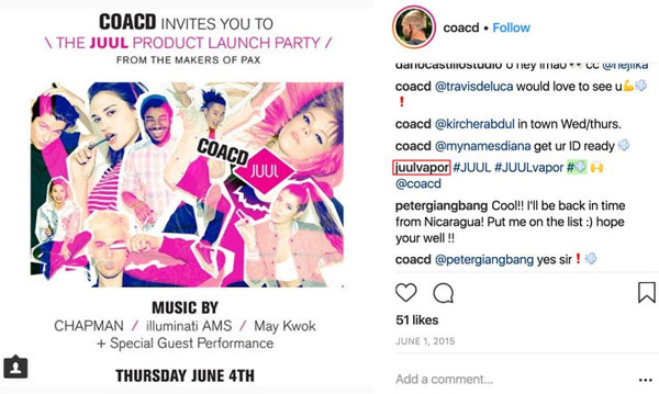 A screenshot shows a post on Instagram about a JUUL product launch party posted by Coacd.