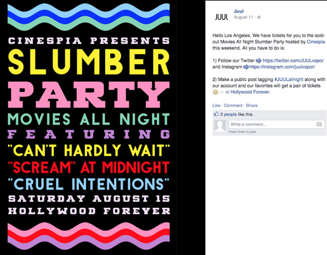 A screenshot shows a post on Facebook about a JUUL product launch party posted by JUUL.